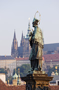 St Charles Bridge Posters - John of Nepomuk Statue Poster by Jeremy Woodhouse