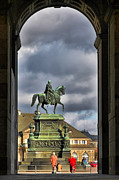 Bronze Framed Prints - John of Saxony Monument - Dresden Theatre Square Framed Print by Christine Till