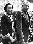Author Metal Prints - John Steinbeck, With Wife Elaine C. 1962 Metal Print by Everett