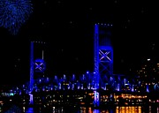 Fireworks Prints - John T Alsop Jr Bridge Print by DigiArt Diaries by Vicky Browning