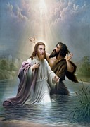 River Jordan Painting Prints - John the Baptist baptizes Jesus Christ Print by War Is Hell Store
