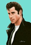 Bruce Lennon Paintings - John Travolta Grease by Bruce Lennon