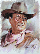 Cowboy Pastels Posters - John Wayn Poster by Ylli Haruni