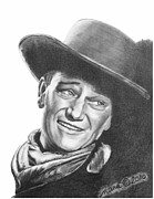 Sheriff Drawings Posters - John Wayne   Dreamer Poster by Marianne NANA Betts