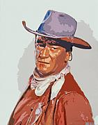Nostalgia Painting Metal Prints - John Wayne - THE DUKE Metal Print by David Lloyd Glover