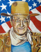 John Wayne Drawings Framed Prints - John Wayne 2 Framed Print by John Keaton
