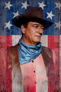 Cowboy Mixed Media Posters - John Wayne Americas Cowboy Poster by John Guthrie