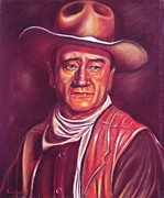 Office Pastels Framed Prints - John Wayne Framed Print by Anastasis  Anastasi