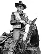John Wayne Drawings Framed Prints - John Wayne as Rooster Cogburn Framed Print by Ronny Hart