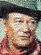 John Wayne Mixed Media - John Wayne Horse Mosaic by Paul Van Scott