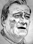 True Grit Drawings Metal Prints - John Wayne - Large Metal Print by Robert Lance