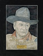 John Wayne Paintings - John Wayne Portrait by Herb Strobino