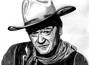 Westerns Drawings - John Wayne by Ralph Harlow