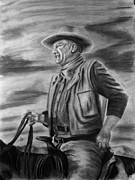 Heroes Drawings - John Wayne by Russ  Smith