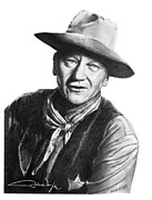 Sheriff Drawings Framed Prints - John Wayne  Sheriff Framed Print by Marianne NANA Betts