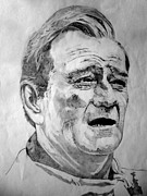 John Wayne Drawings Framed Prints - John Wayne - Small Framed Print by Robert Lance
