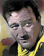 John Wayne Mixed Media - John Wayne The Duke by Charles Shoup