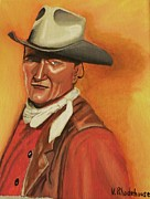 John Wayne Paintings - John Wayne by Victoria Rhodehouse