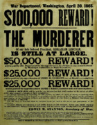 John Booth Posters - John Wilkes Booth Wanted Poster Poster by War Is Hell Store