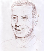 Pencil Drawing Drawings - John Wooden by Jose Valeriano