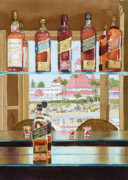 Bottles Paintings - Johnnie Walker and Del by Mary Helmreich