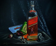 Bottle Cap Painting Posters - Johnnie Walker  Poster by Epifanio jr Mendoza