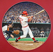 Bat Mixed Media Originals - Johnny Bench by Cliff Spohn