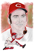 Cincinnati Painting Framed Prints - Johnny Bench Framed Print by Steve Ramer