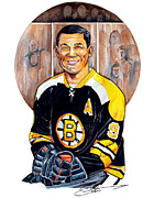 Nhl Hockey Drawings Posters - Johnny Bucyk Poster by Dave Olsen