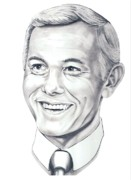 Famous People Drawings - Johnny Carson by Murphy Elliott