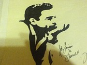 Singer Drawings - Johnny Cash by Damian Howell