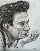 Country And Western Drawings - Johnny Cash by Gerald Hubert
