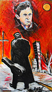 Jon Baldwin Art Paintings - Johnny Cash  by Jon Baldwin  Art
