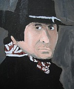 Celebrity Portraits Painting Originals - Johnny Cash Man in Black by Jeannie Atwater Jordan Allen