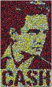 Johnny Mixed Media Posters - Johnny Cash MM Mosaic Poster by Paul Van Scott