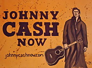 Singer Paintings - Johnny Cash Now by Pete Maier
