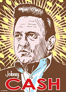 Three Framed Prints - Johnny Cash Pop Art Framed Print by Jim Zahniser