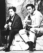 Johnny Cash Prints - Johnny Cash, With Bob Dylan, C. 1969 Print by Everett
