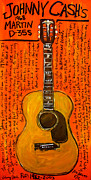 Iconic Guitar Prints - Johnny Cashs Martin Print by Karl Haglund