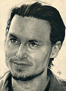 Parchment Drawings Prints - Johnny Depp - Chocolat Print by Bianca Ferrando
