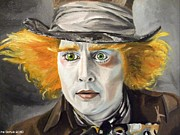Mad Hatter Painting Posters - Johnny Depp - The Mad Hatter Poster by Ina Schulz