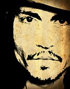 Johnny Mixed Media Posters - JOHNNY DEPP - Up Close and Personal Poster by Lauranns Etab