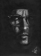 Charcoal Portrait Posters - Johnny Depp 2 Poster by Rosalinda Markle