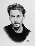 Film Star Drawings Posters - Johnny Depp Poster by Andrew Read