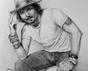 Pencil Drawing Drawings - Johnny Depp by Angela Hannah