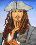 Captain Jack Sparrow Paintings - Johnny Depp as Cpt. Jack Sparrow by Dean Manemann