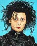Famous People Paintings - Johnny Depp as Edward Scissorhands by Dean Manemann