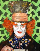 Alice In Wonderland Painting Originals - Johnny Depp as the Madd Hatter by Dean Manemann