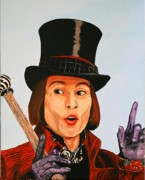 Famous People Paintings - Johnny Depp as Willy Wonka by Dean Manemann