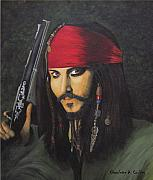 Actors Painting Originals - Johnny Depp- Captain Jack by Charolette A Coulter